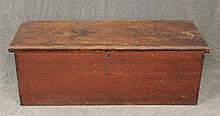 Blanket Box, Dovetailed Pine Six Board Chest with Redwash, 16