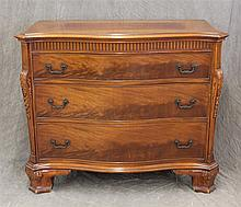 Chest of Drawers, Mahogany, Serpentine Front, Thrwee Graduated Drawers, Ancanthus Carved Sides, Bracket Feet, 34