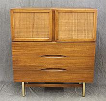 American Furniture of Martinsville, Mid-Century Modern Server, Mahogany, Two Doors with Four Drawer Interior over Three Drawers, 45...