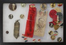 Grouping of William H. Taft  Presidential Political Buttons and Ribbons-1908