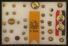 Grouping of William McKinley Presidential Political Buttons and Ribbons-1896/1900