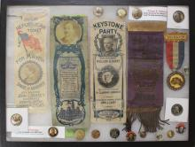 Collection of Pennsylvania Related Political Buttons and Ribbons.