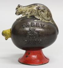 J & E Stevens, Tabby Bank with Painted Red Base, Mechanical Bank