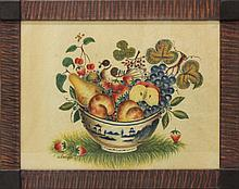 David Y Ellinger (1913-2003, Pennsylvania) Theorem of Canton Bowl with Fruit and Bird