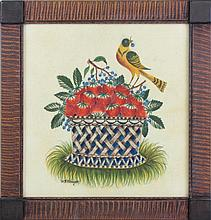 David Y Ellinger (1913-2003 Pennsylvania) Theorem of Bird Perched on Basket of Fruit.