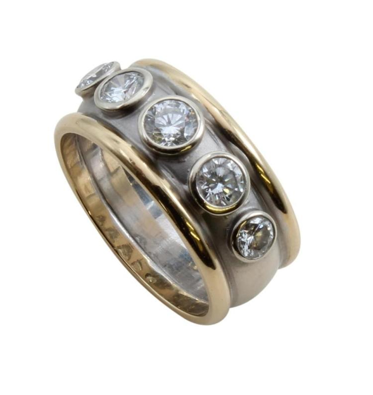 14K Yellow and White Gold Ring with Diamonds