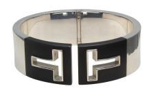 Tiffany & Co. Sterling Silver Black Ceramic Cutout Cuff Hinged Bangle Bracelet