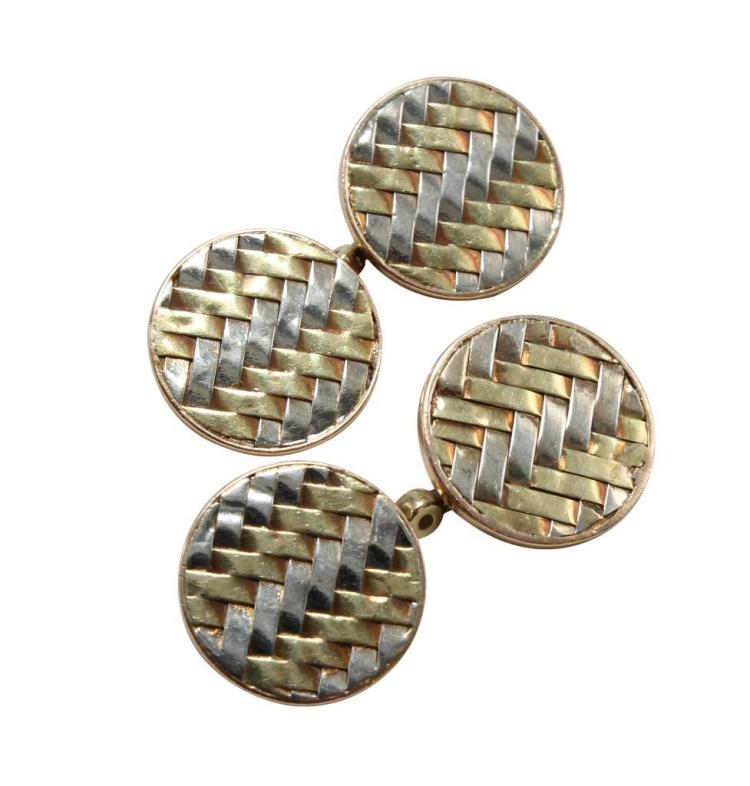Cartier Cufflinks, 14K Tri-Colour Gold Weave