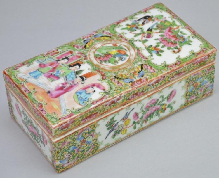 Chinese Export Porcelain Covered Pen Box