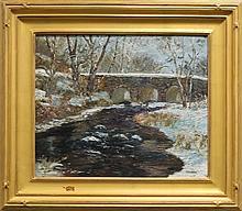 "Kaiser, Don F., b.1958, Pennsylvania, ""Bridge in Winter"" Oil on Canvas."