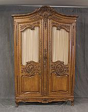 French Armoir, Louis XV Style, Walnut, Distressed, (Missing Back Panel), 90