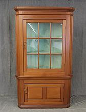 Corner Cupboard, Walnut, Lighted Scalloped Shelves, (One Glass Panal Has Split) 79
