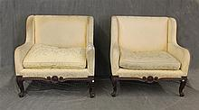 Pair of Louis XV Arm Chairs, Hand Carved Mahogany, (Staining and Wear on the Upholstery), 38
