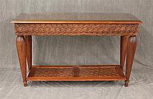 Wicker Glass Top Sofa Table, (Wobbly at the Feet), 30