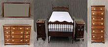 6 Piece Bedroom Suite, Cherry, from Monitor Furniture Company, (1) Queen Size Bed with a Sealy Posturepedic Matress and Box Spring 4...