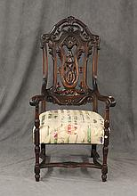 Carved Tall Back Arm Chair, Walnut, 52