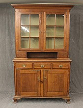 Dutch Cupboard, Walnut with Two Six Lighted Doors and Candle Box Drawers and Reeded Corner Columns, Ogee Branket Feet, (Some Wood Sp...
