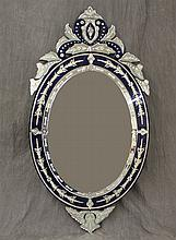 Venetian Mirror with Cobalt Blue Trim, 58