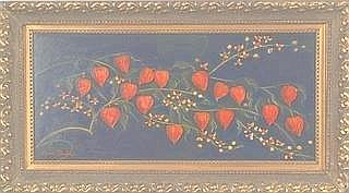 Amos Shontz. Image of Chinese lanterns and bittersweet, oil on board 11.75in.x23.5in. SLL