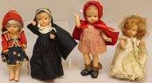 LOT OF (4) COMPOSITION DOLLS: PATSYETTE, TODDLES, UNMARKED.