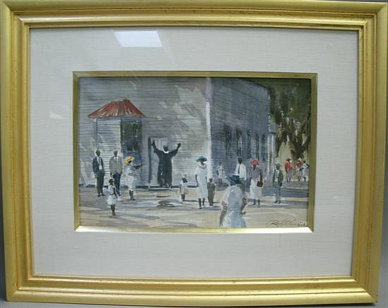 Ray G. Ellis (American b.1921) SUNDAY SERVICES Watercolor, signed and dated '96