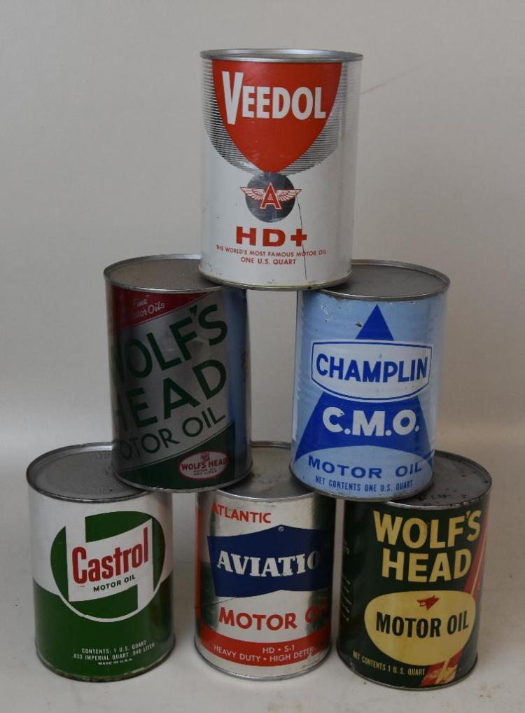 6-full-1 quart vintage oil cans