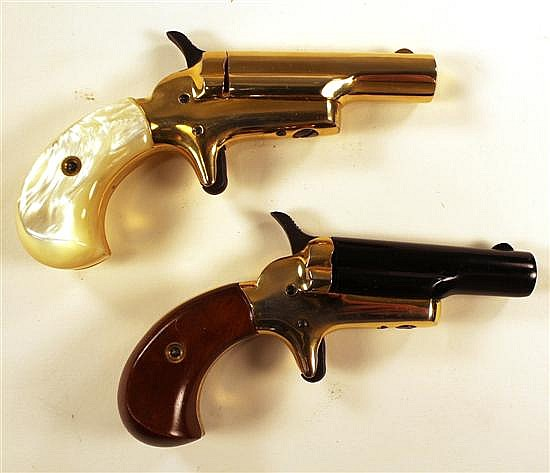 "Pair of Colt Lord & Lady No 4 derringers. 1) Lord- Cal. 22 Short, 2-1/2"" bbl. SN 2327LDR. Blued finish on barrel, brass frame, plain..."