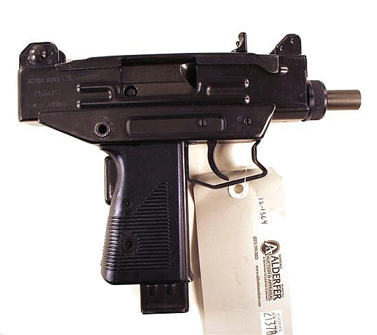 "IMI Israel Action Arms Ltd. Uzi semi-automatic pistol. Cal. 9 mm. 5"" bbl. SN UP17535. Matte finish on metal, factory grips show litt..."