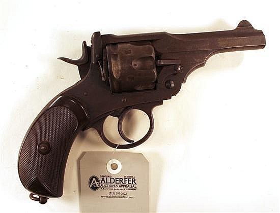 """Webley & Scott Ltd. Mark IV double action revolver. Cal. 455. 4"""" bbl. SN 857. Patina finish on all metal with large areas of freckli..."""