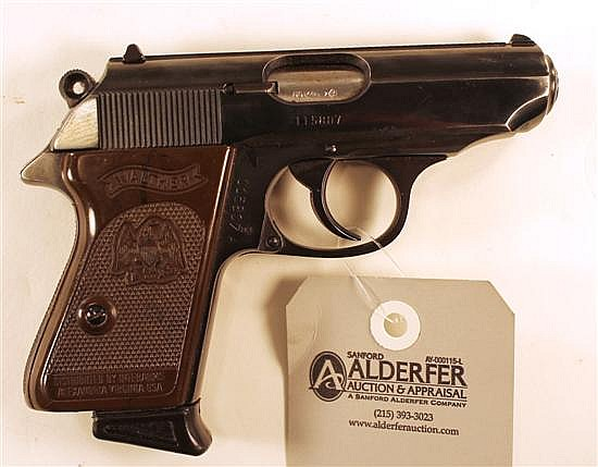 """Walther Model PPK semi-automatic pistol. Cal. 380. 3"""" bbl. SN 115807. Blued finish on metal, brown plastic grips show very light han..."""