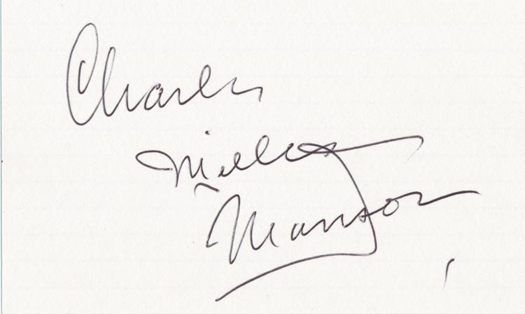 CHARLES MANSON - Current Bid: $100.00