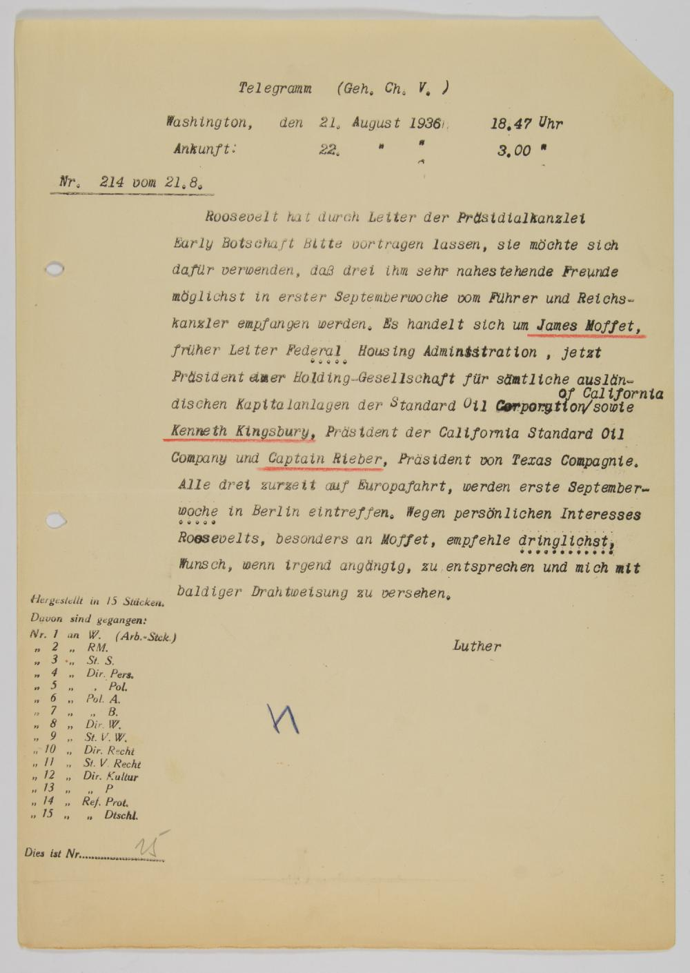 FRANKLIN ROOSEVELT ASKS THAT HIS FRIENDS BE GRANTED AN AUDIENCE WITH ADOLF HITLER
