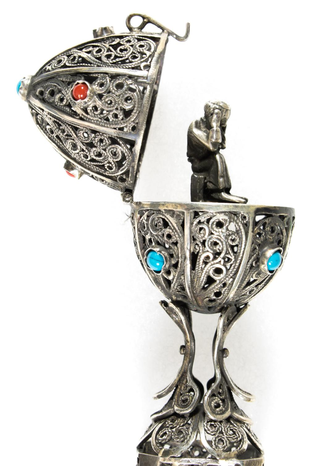 SILVER FABERGE-STYLE EGG