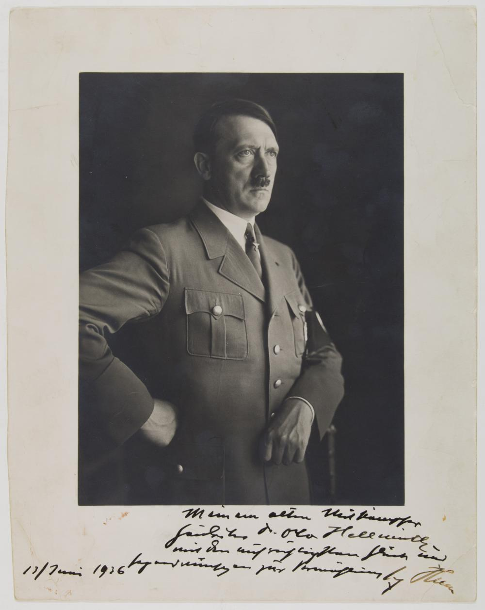 ADOLF HITLER GIFTS HIS SIGNED PORTRAIT TO GAULEITER OTTO HELLMUTH