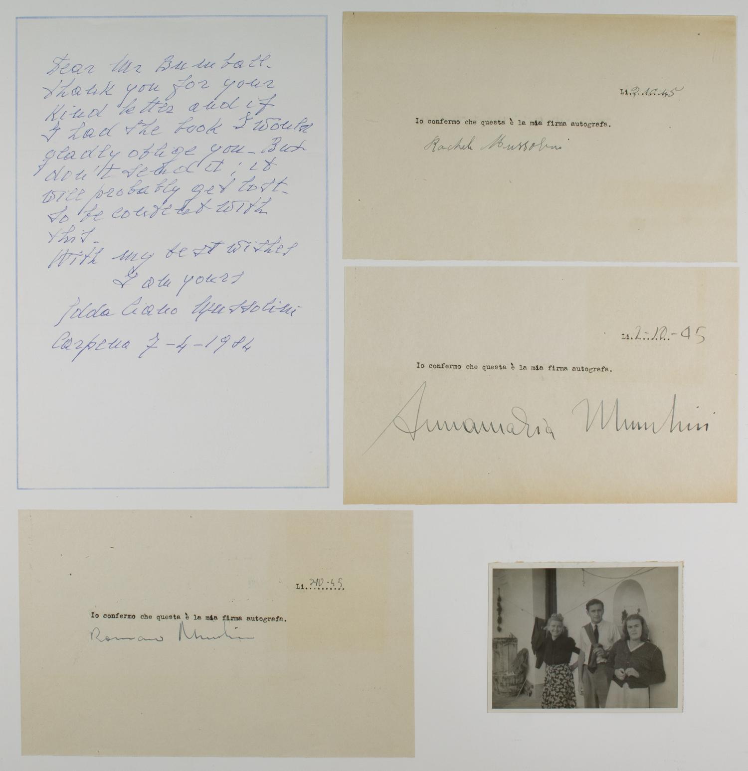 BENITO MUSSOLINI'S FAMILY MEMBERS