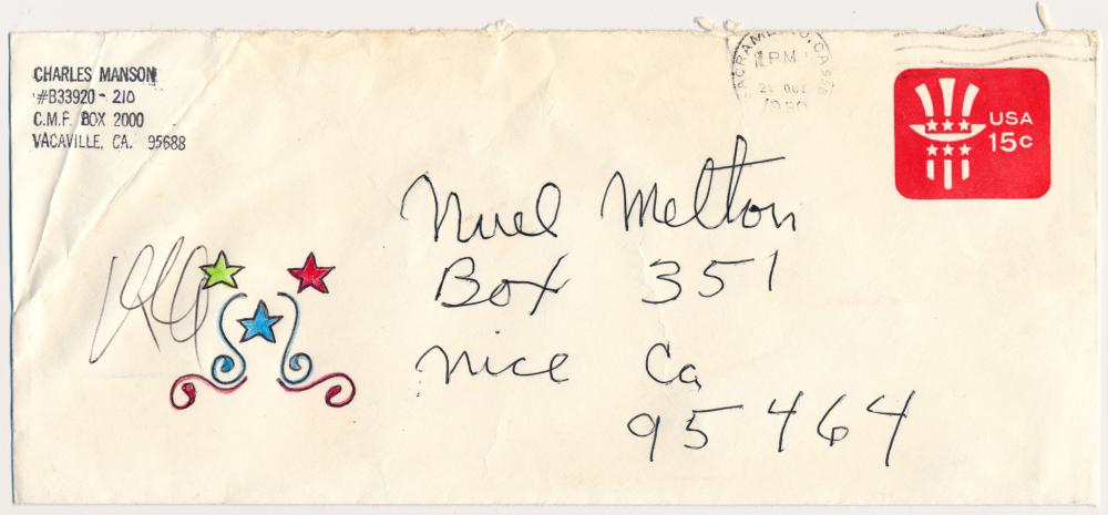CHARLES MANSON ENVELOPE WITH ARTWORK AND NOTE