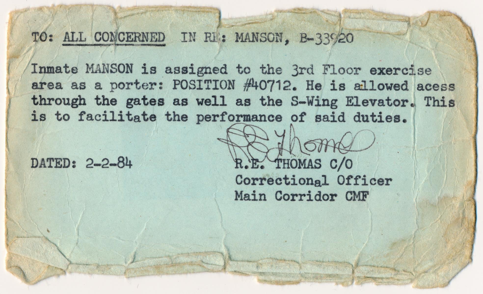CHARLES MANSON PRISON PASS