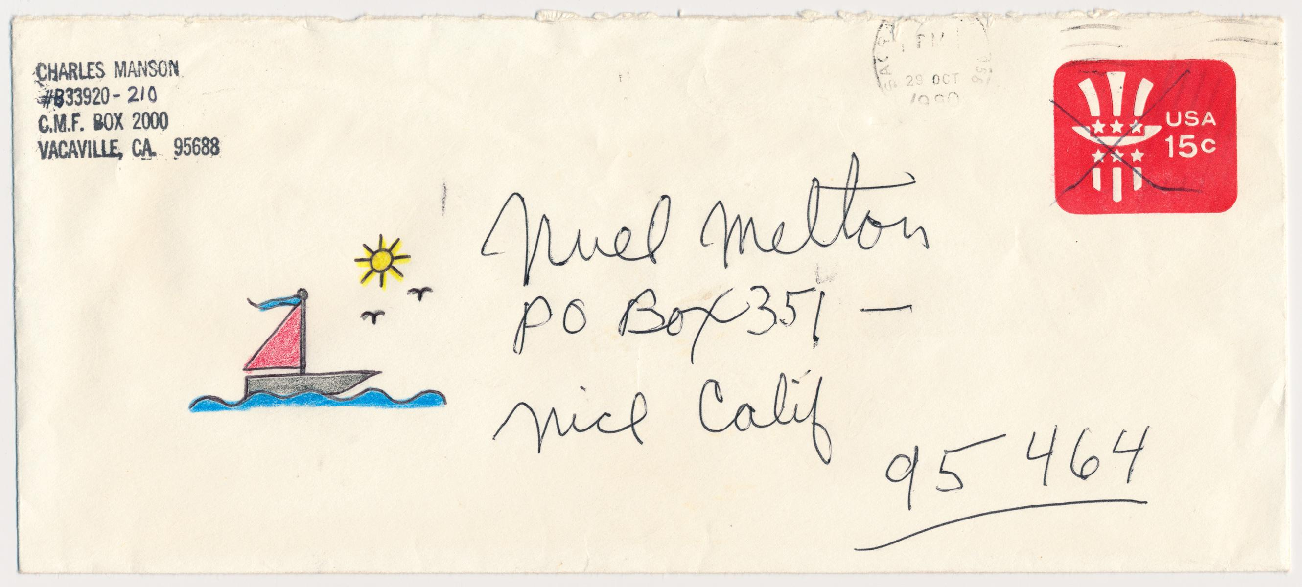 CHARLES MANSON ENVELOPE WITH ARTWORK AND ANNOTATED LETTER