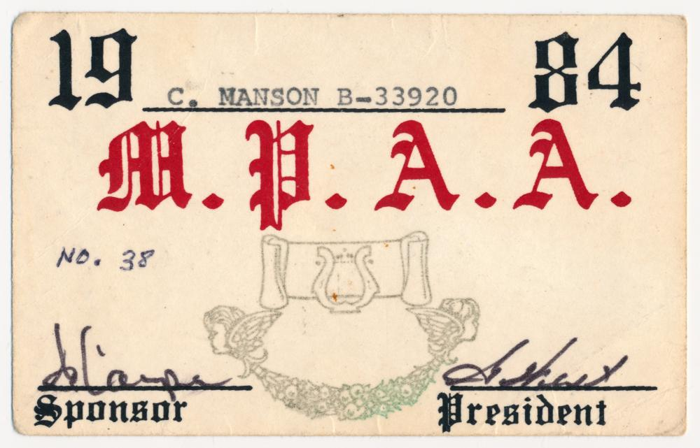 """CHARLES MANSON'S """"M.P.A.A."""" CARD"""