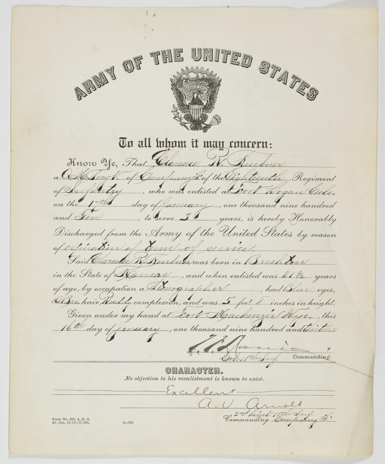 CLARENCE R. HUEBNER IS HONORABLY DISCHARGED AFTER FIRST TERM IN U.S. ARMY