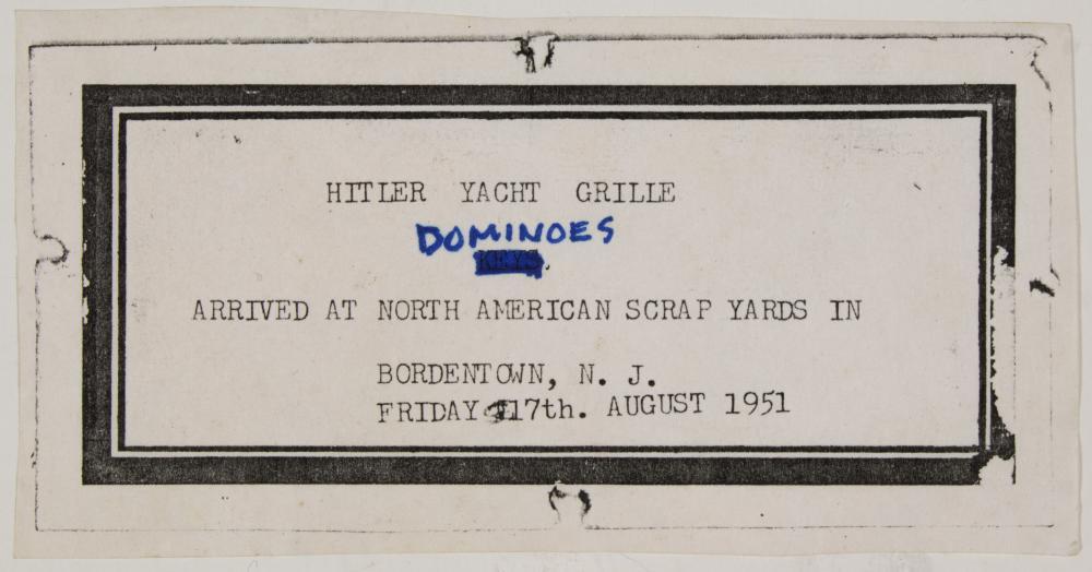 DOMINO SET FROM HITLER'S YACHT 'AVISO GRILLE'