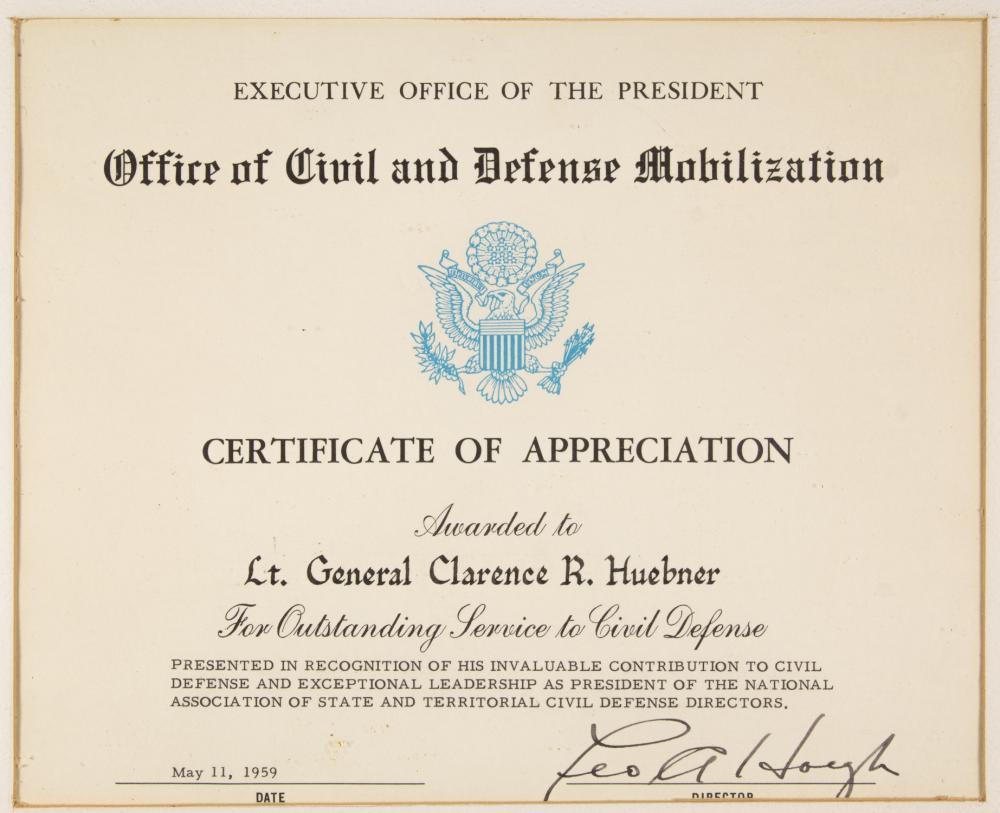 GEN. CLARENCE R. HUEBNER'S 'CIVIL DEFENSE' CERTIFICATE