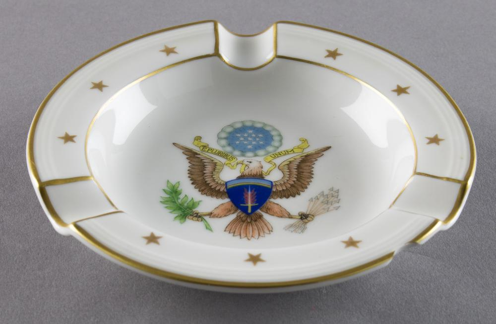 GEN. CLARENCE R. HUEBNER'S GERMAN-MADE S.H.A.E.F. ASHTRAY