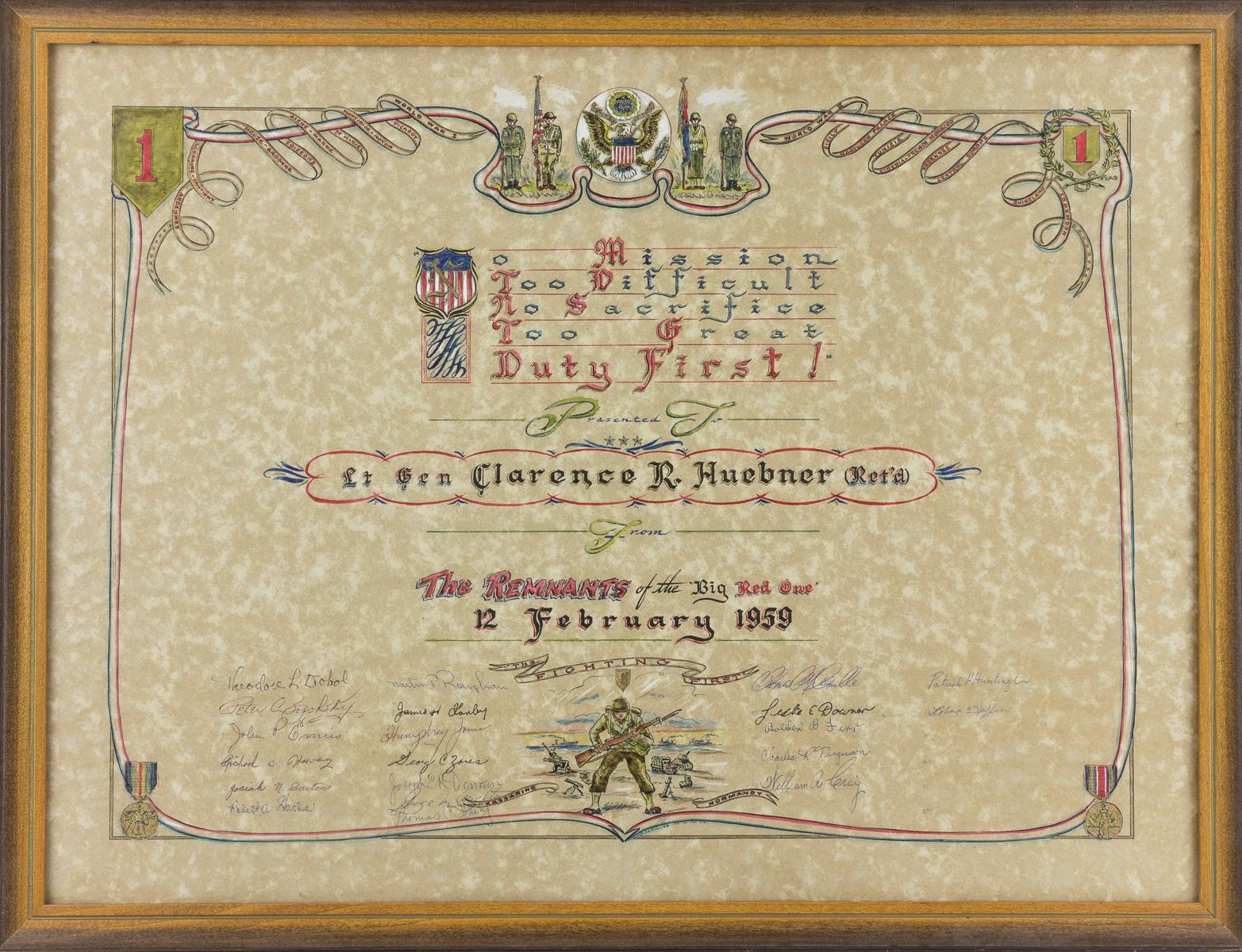 GEN. CLARENCE R. HUEBNER'S 1ST INFANTRY DIVISION PRESENTATION CERTIFICATE AND STATUETTE