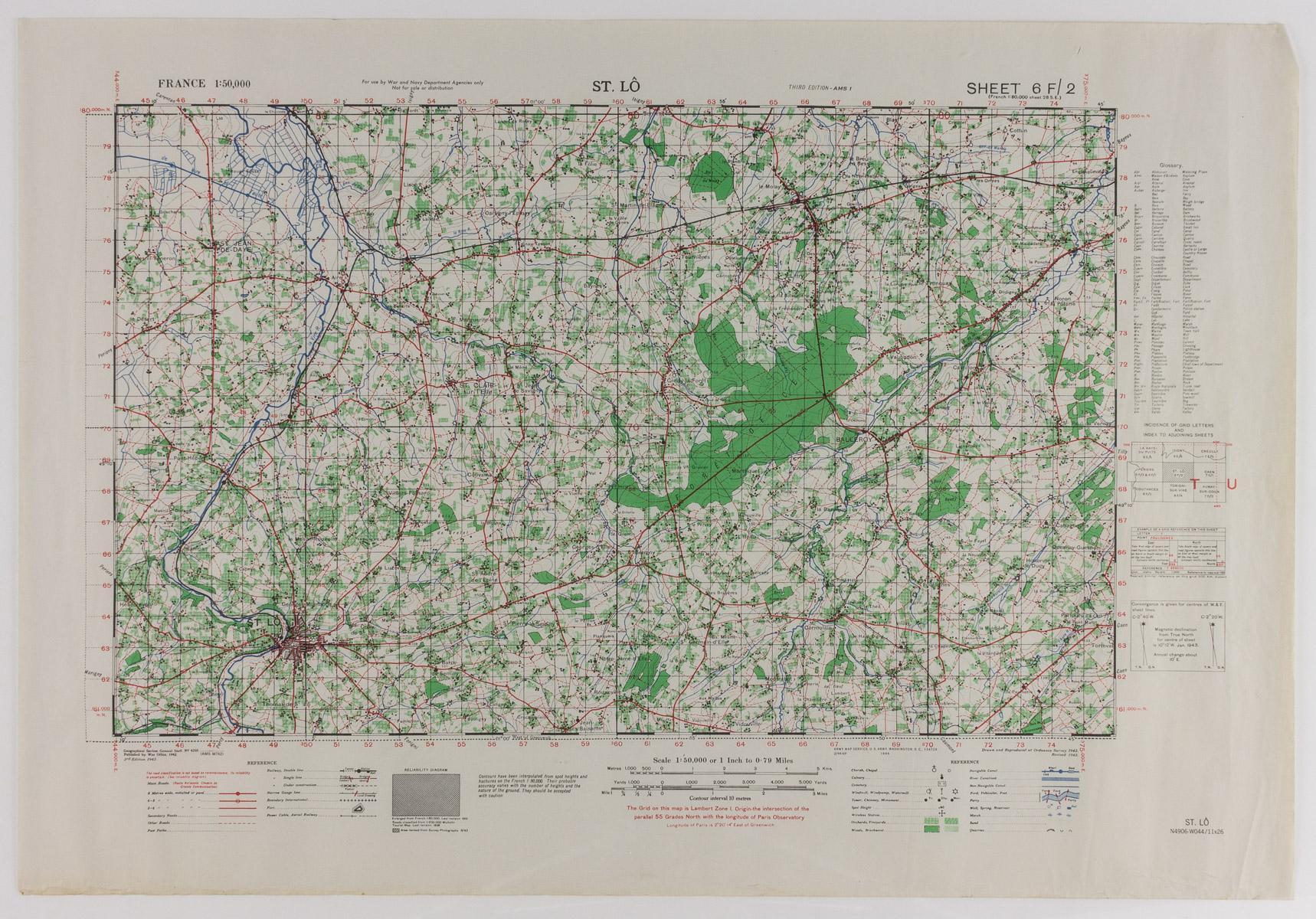 GEN. CLARENCE R. HUEBNER'S MAP OF ST. LO