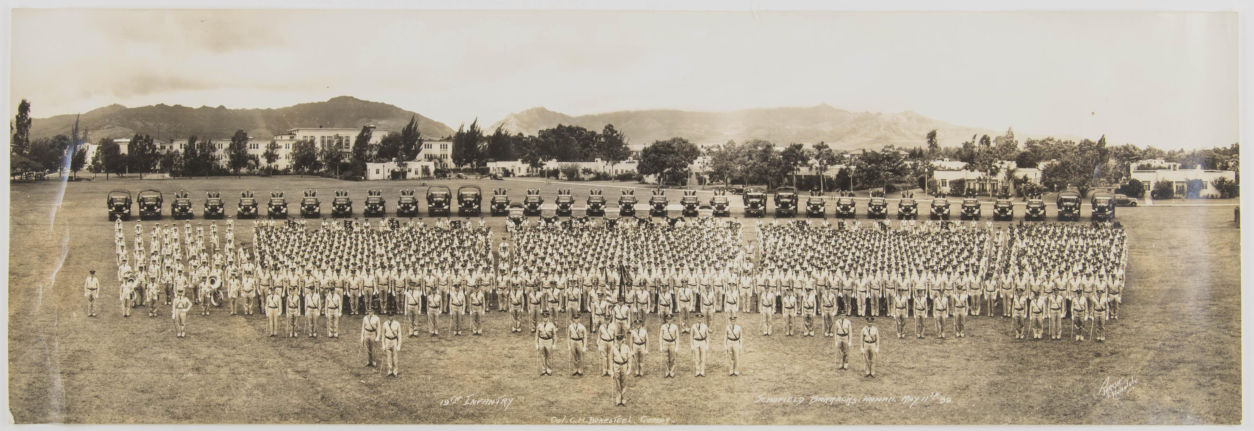 GEN. CLARENCE R. HUEBNER'S PHOTOGRAPH OF 19TH INFANTRY AT SCHOFIELD BARRACKS, CA. 1939