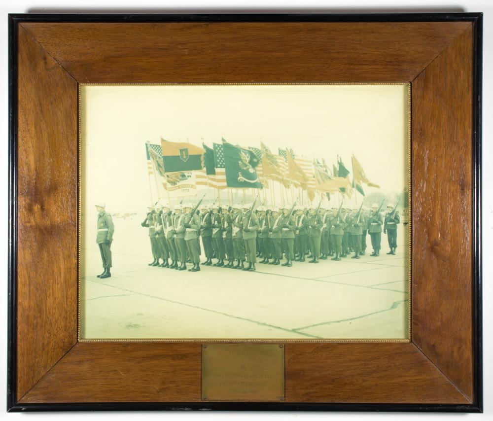 PHOTOGRAPH OF 1ST INFANTRY DIVISION, PRESENTED TO GEN. CLARENCE R. HUEBNER