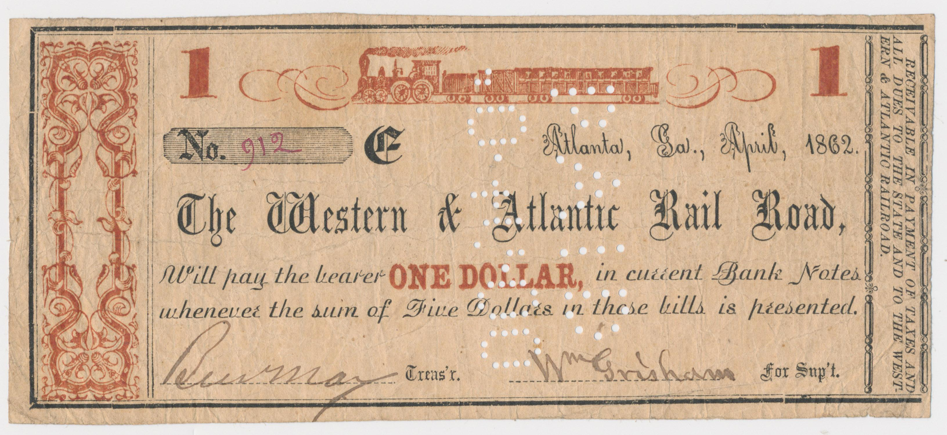 'THE GREAT LOCOMOTIVE CHASE' BANK NOTE