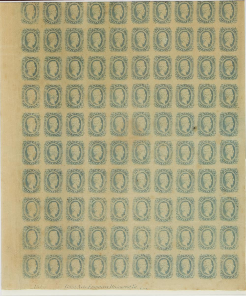 SHEET OF UNCUT CONFEDERATE STAMPS
