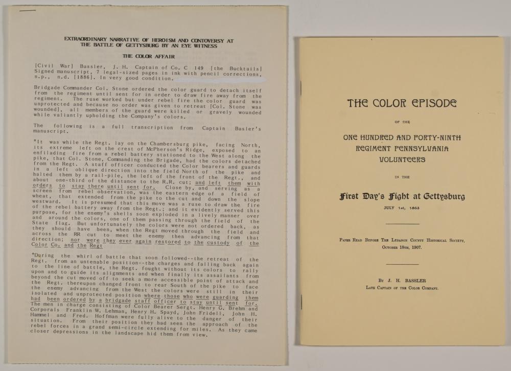 ORIGINAL SOLDIER'S ACCOUNT OF THE 'COLOR EPISODE' OF GETTYSBURG